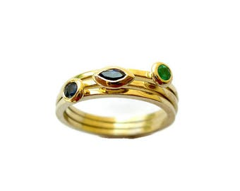 Anniversary Gift for Women, Set of 3 Rings, Gemstone Gold Rings, Solid Gold Ring, Stackable Rings, for her