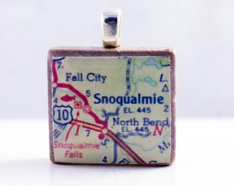 Snoqualmie North Bend Fall City Carnation, WA - 1962  vintage Scrabble tile map pendant