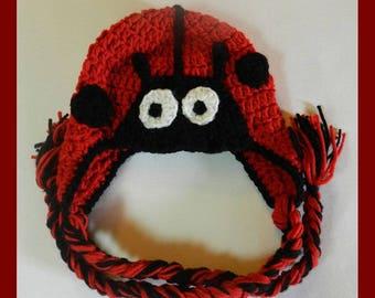 Crochet Lady Bug Ear Flap Hats  Toddler, Child, Teen, Adult   V5664