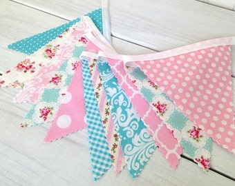 Shabby Chic Baby Girl Nursery Decor Baby Shower Fabric Bunting Nursery Bunting Garland Bunting Banner Pink Aqua Flowers Roses