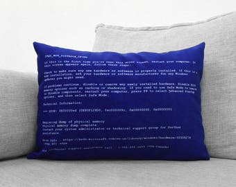 "blue screen of death - 14"" x 20"" velveteen pillow case - windows computer error screen"