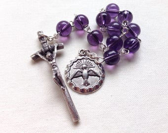 Holy Spirit Pocket Rosary, Confirmation pocket rosary, Purple glass pocket rosary, Purple tenner rosary, Confirmation gift