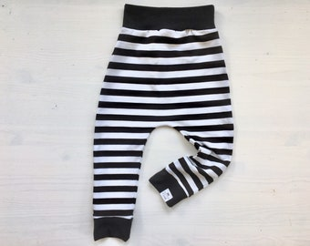 Monochrome Black & White Stripe Baby + Toddler Harem Pants