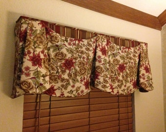 "Window Valance Custom JORDAN Hidden Rod Pocket® Valance fits 67""- 86"" window, Custom made using your fabrics, my LABOR and lining"