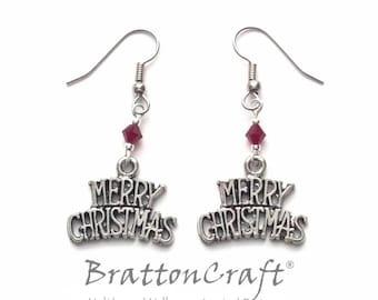 Merry Christmas Earrings - Christmas Earrings - Holiday Earrings - Holiday Jewelry - Christmas Jewelry