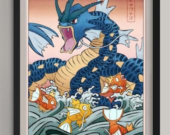 "Gyarados and Magikarp Woodblock| Pokemon | Fan Art Print | (A3/11.7""x16.5"")"