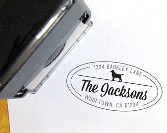 Dog Return Address Stamp with Dog Breed Silhouette - Self Inking - Custom - Personalized