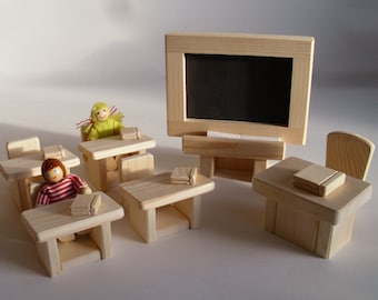 Wooden Toy Play School Set, Gender Neutral Learning, Education gift, Waldorf inspired toy, Kids gift, Jacobs Wooden Toys