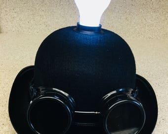 Steampunk Light Bulb Derby Bowler Costume Hat