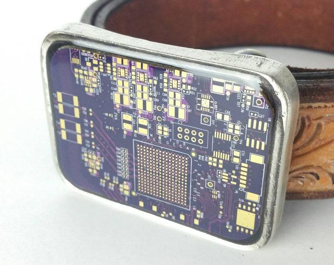 Purple Circuit Board Belt Buckle