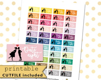 DATE NIGHT Printable Planner Stickers for use with Erin Condren Life Planner/Happy Planner Stickers/Date Sticker Kit/Silhouette/Horizontal