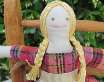 Small rag doll -  Annabelle in pink and orange plaid dress with checked apron