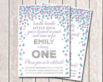 Twinkle Twinkle Little Star Invitation 1st Birthday Invitation Girl Birthday Invitation Purple Teal Silver Confetti Invitation