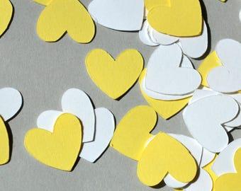 Yellow & White Confetti Hearts, 500-2000 Pieces, Party Confetti