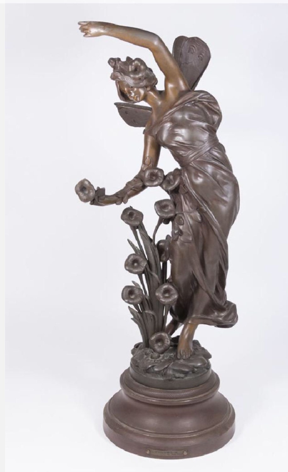 Antique Art Nouveau French Figural Patinated Bronze Winged