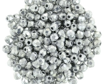Czech Glass Beads - Round Faceted Beads - Fire Polished Beads -Silver Beads - 2mm - 50 Beads