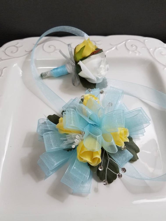 Light Blue And Yellow Wrist Corsage With Matching Boutonniere