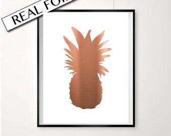 Pineapple Print, Pineapple Poster, copper pineapple art, Retro pineapple, real copper foil print, Pineapple silhouette copper foil art