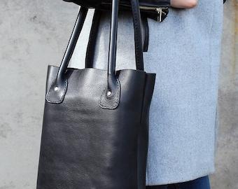 Ledereinkaufstasche, schwarze Tasche, Leder-Shopper-Tasche, Tasche für jeden Tag, Laptop-Tasche, Leder Umhängetasche.
