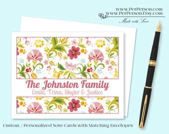 Free Ship!  Set of 12 Personalized / Custom Notecards, Boxed, Blank Inside, Floral, Flowers, Yellow, Green, Pink, Monogram, Name