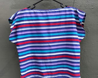 80s Striped Crop Top. 1980s Blue, Purple, White, Red, Grey Short Sleeve Top. Boat Neck. Small.