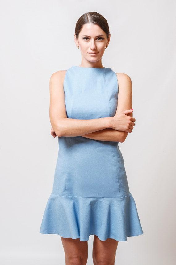 bf480f31e96 Sky Blue Mini Dress by TAVROVSKA Low Armholes Round