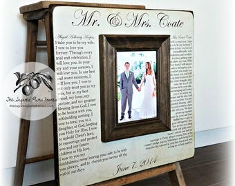 Personalized Wedding Gift, Personalized Anniversary Gift,  Wedding Vows Frame, 5th Anniversary Wood, 16x16 The Sugared Plums Frames