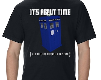 Doctor Who It's About Time Police Box Adult T-Shirt