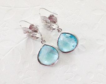 Aquamarine dangle earrings Leafs earrings with aquamarine glass, Something blue, Bridesmaid gift, wedding earrings, march birthstone