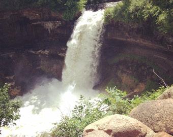 Minnehaha Falls - Waterfall Photo - 4x4 Matte Finish - Minneapolis, MN
