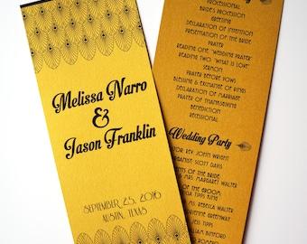 Old Hollywood / Art Deco Metallic Gold Wedding Program : Double-Sided