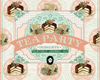 DIY Journal - Tea Party Desserts - 18 Journal Refill Pages, vintage junk journal, floral digital paper, digital smashbook, ephemera kit