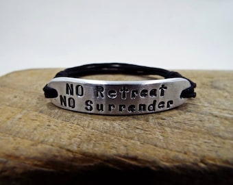 No Retreat No Surrender Personalized Womens Bracelet - Motivational Sparta words from King Leonidas 300 Spartan Law, Greek Ancient History