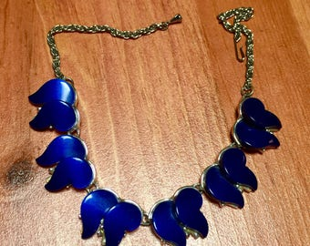 Vintage 1960's  - Midnight Blue Thermoset Choker Necklace