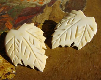 Giant VINTAGE Bone Stud Earrings, Very Large Leaf design with deep etching, Moroccan, from dead stock (never worn), Exotic natural art studs