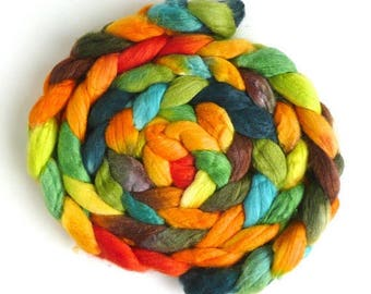 Far Eastern Sun, Polwarth/Silk Roving - Handpainted Spinning or Felting Fiber