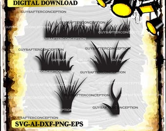 Five Grass Vector Images Vinyl Decal T-shirt Digital Cutting Files ,Svg File, Ai, Eps, PNG