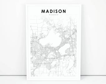 Madison Map Print, Wisconsin WI USA Map Art Poster, City Street Road Map Print, Nursery Room Wall Office Decor, Printable Map