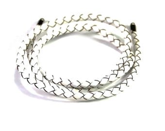 genuine 4mm white braided leather 1 m