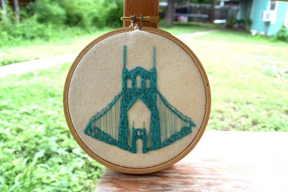 St Johns Bridge Portland Or Embroidery Handmade Bridge