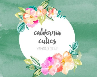California Cuties Watercolor Flower Clip Art