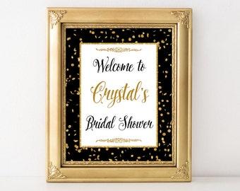 Bridal Shower Welcome Sign, Black & Gold Glitter Confetti Sign, Wedding Shower Sign, DIY PRINTABLE