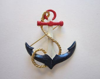 vintage ANCHOR brooch - nautical brooch - red white and blue - anchor pin