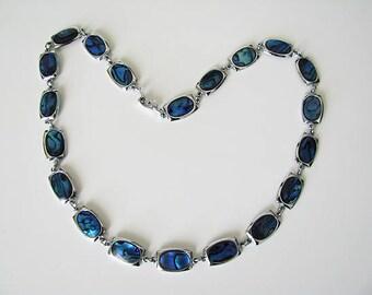 Vintage Paua Abalone Shell and Silver Tone Necklace, Paua Shell Gemstone Necklace