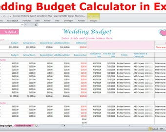 wedding expense sheet