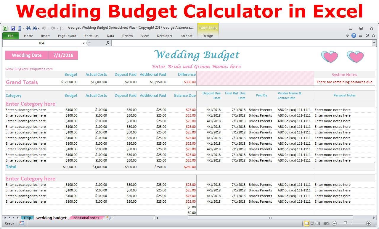 Hochzeit Budget Kosten Rechner Excel-Tabelle-Vorlage