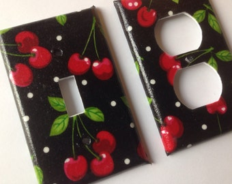 Wonderful Cherries Single Light Switch Plate Set/ Pin Up Decor/ Kitchen Decor/ Cherry  Kitchen