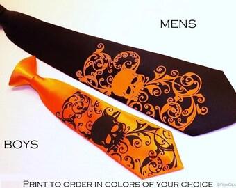 RokGear Neckties - Mens and Boys Skull necktie set - Custom colors custom design print to order