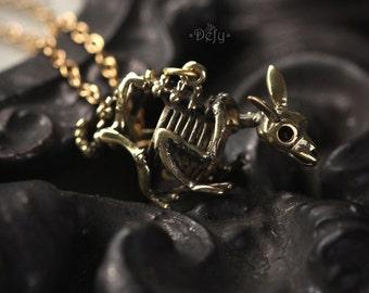 Small Rabbit Skeleton Necklace by Defy / Bunny Skeleton Charm Jewelry / Brass Metal Pendant