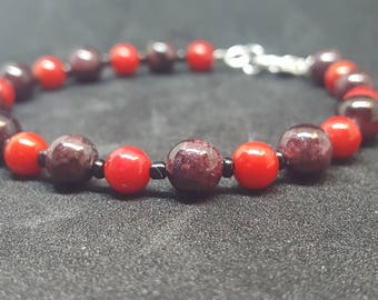 Garnet and Red coral bracelet